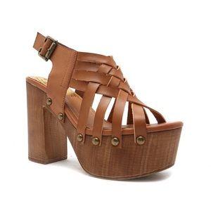Qupid Elma Leather Platform Sandal